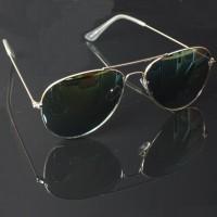Pilotenbril goud met oranje spiegel lenzen